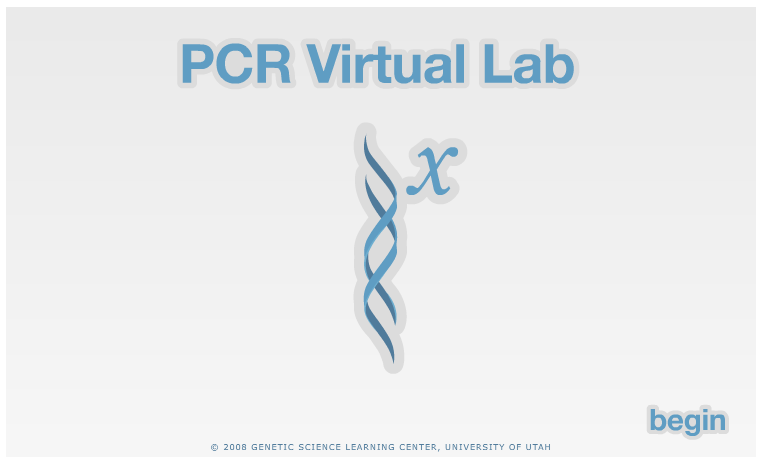 Screenshot of the PCR tutorial at the Genetic Science Learning Center