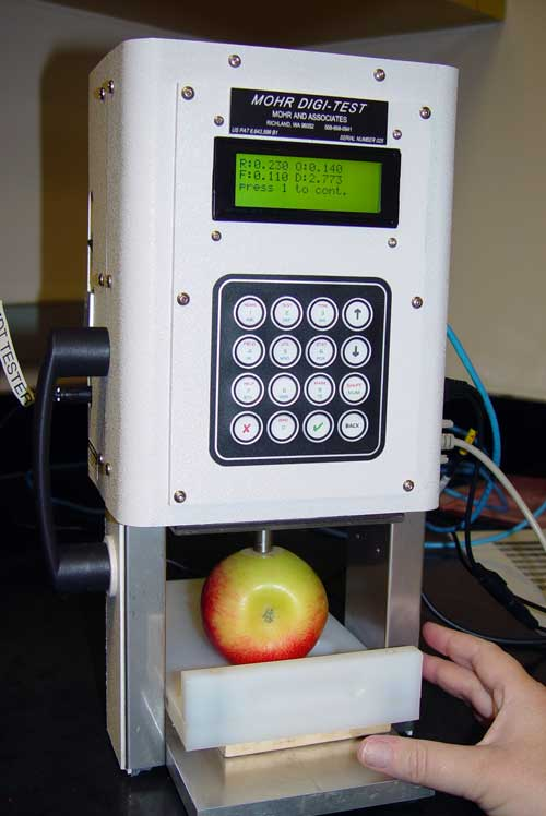 Apple firmness being tested by a Mohr Digi-Test
